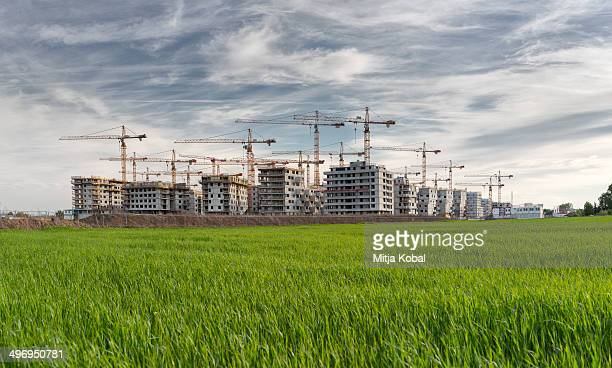 Image of Aspern Vienna's urban Lakeside construction site. Used to be one of the biggest urban construction sites in Europe. More than 45 cranes...