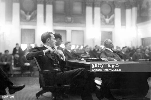 Image of bootlegger and alleged gunman Terry Druggan sitting in profile in a courtroom in Chicago Illinois 1926