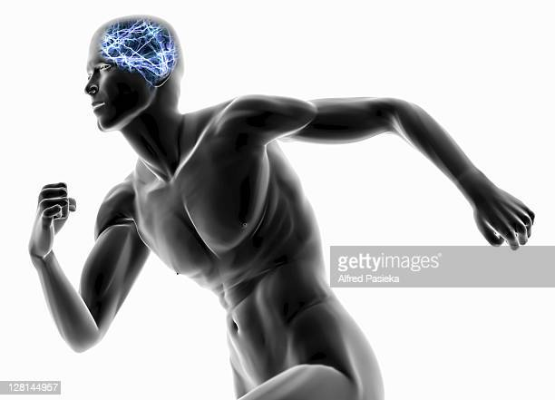 Image of brain firing blue sparks on male runner against white background