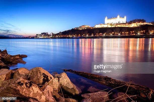 Image of Bratislava castle by Danube river.