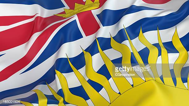 image of british columbia flag waving - british columbia stock pictures, royalty-free photos & images