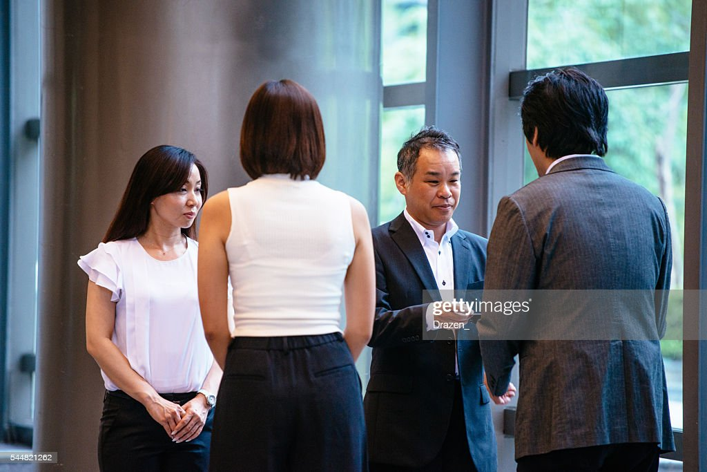 Image Of Business People Exchange Business Cards After Meeting Stock ...
