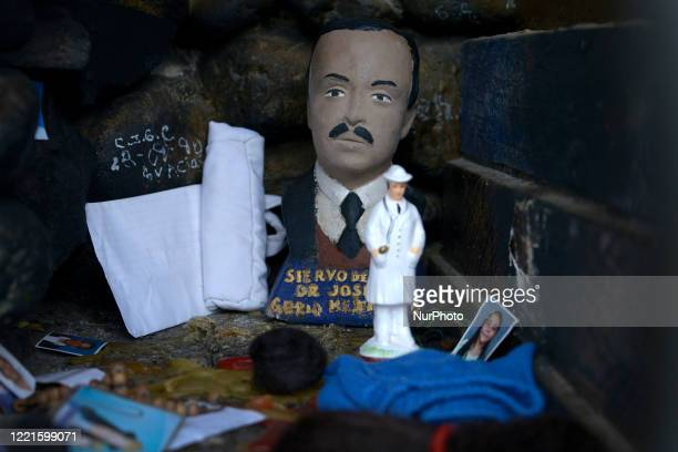 Image of Dr José Gregorio Henrnadez placed in one of the multiple altars of the sanctuary located in Isnotu Venezuela on February 25 2016 He was...