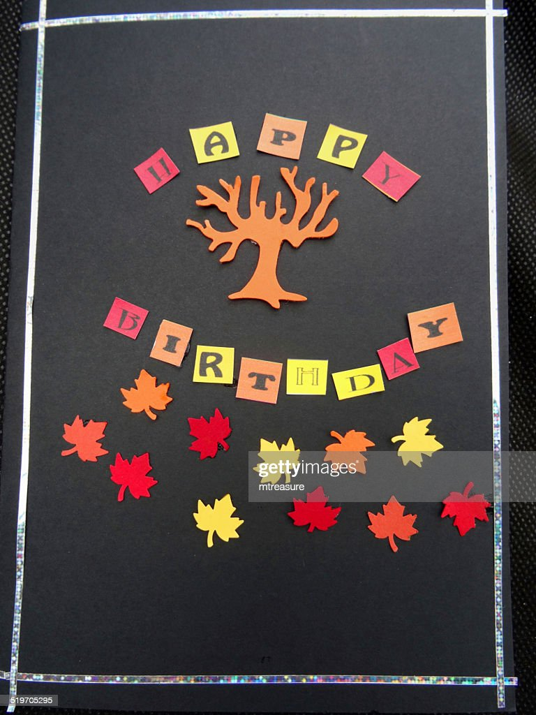 Image Of Homemade Happy Birthday Greetings Card Paper Autumn Leaves