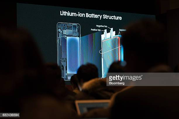 Image of lithium ion battery is seen during a news conference for Samsung Electronics Co Galaxy Note 7 smartphone fire investigation in Seoul South...