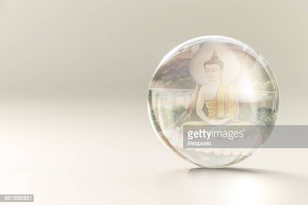 Image of Lord Buddha inside crystall ball