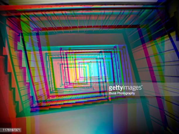 3d image of low angle perspective of a rectangular stairwell - eyesight stock pictures, royalty-free photos & images