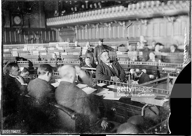 Image of Mayor Carter H Harrison looking up while testifying during the Iroquois Theater fire inquest Chicago Illinois January 1904 Mayor Harrison is...