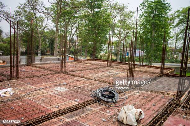 Image of metal concrete reinforcement wire mesh bars, roof construction-materials