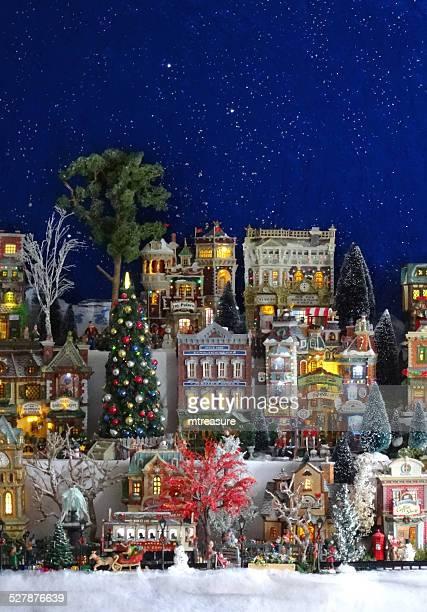 イメージのモデルのクリスマス村、小型には、人物、冬景色