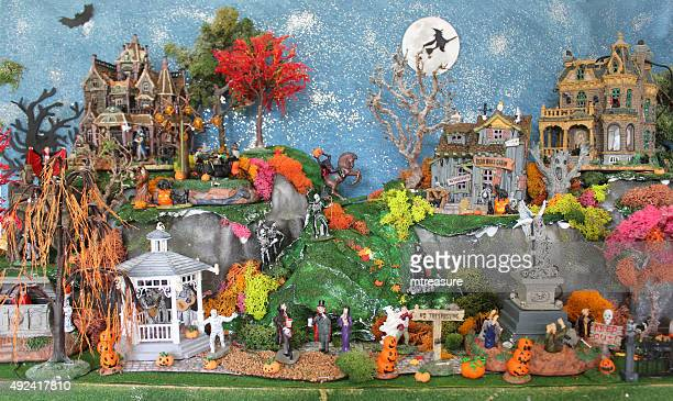 Image of model Halloween village with Lemax 'Spooky-Town' haunted-houses / buildings