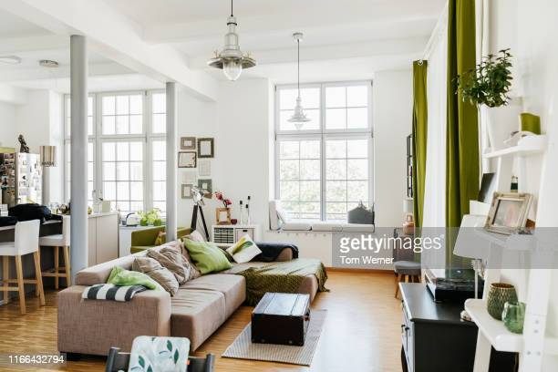 image of modern family living room - tidy room stock pictures, royalty-free photos & images