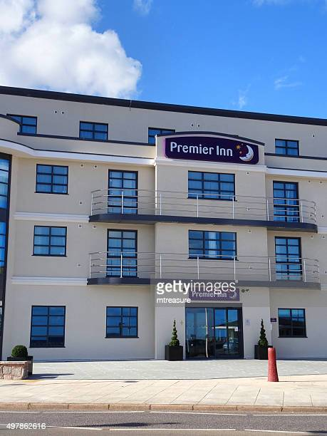 Image of modern Premier Inn Hotel exterior by Exmouth beach