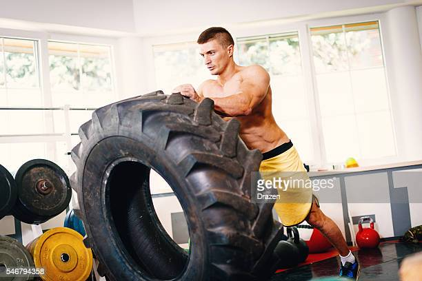 Image of muscular body builder exercising in gym