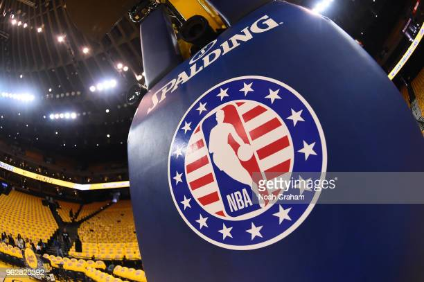 Image of NBA logo on pole before game between Houston Rockets and Golden State Warriors before Game Six of the Western Conference Finals during the...
