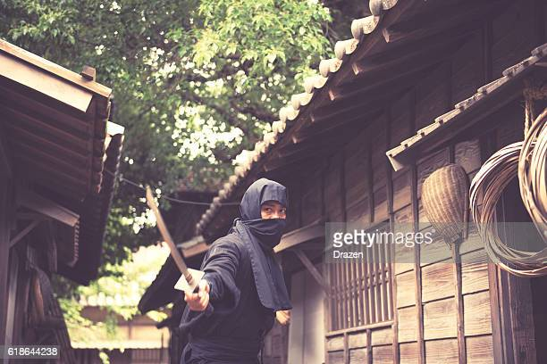 Image of ninja in traditional Japanese village with katana
