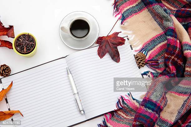 image of notebook ,autumn theme