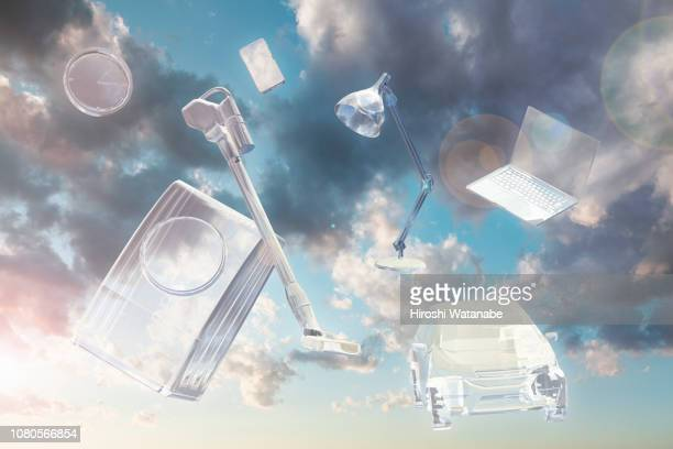 image of renewable energy. transparent household appliances floating in the sky. - 電化製品 ストックフォトと画像
