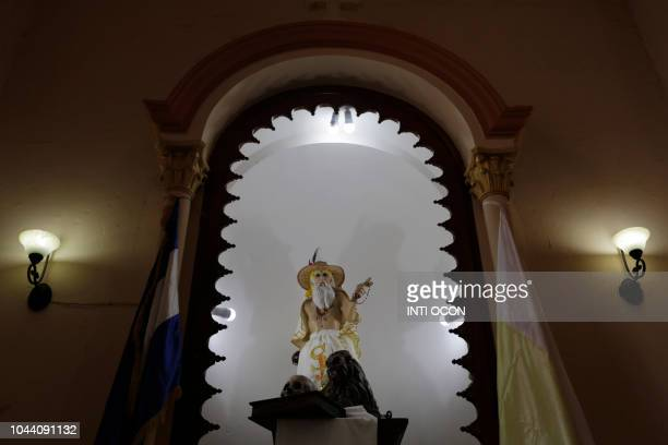 Image of San Jeronimo is seen at San Jeronimo Church during celebrations of San Jeronimo the patron saint of Masaya in Masaya some 30 km from Managua...