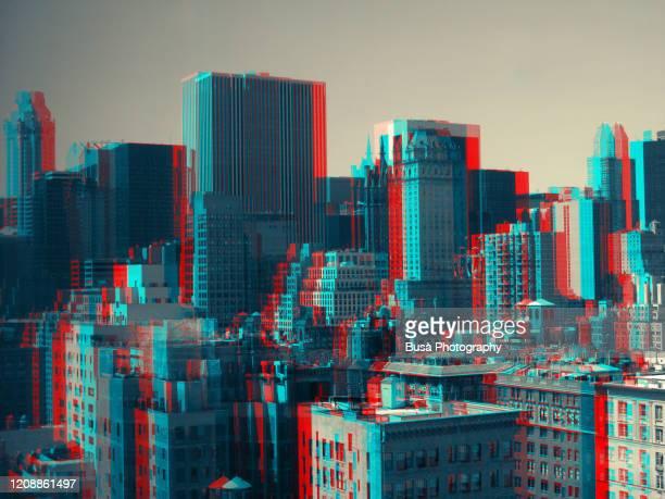 3d image of skyline in midtown manhattan, new york city - manhattan stock-fotos und bilder
