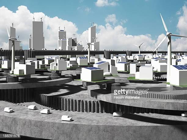 image of smart grid using renewable energy - 建築模型 ストックフォトと画像