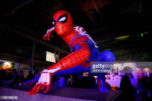 L´HOSPITALET BARCELONA SPAIN Image of Spiderman seen during the Barcelona Games World Fair