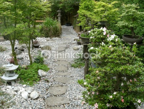Image Of Stepping Stones Pathway In Anese Garden Stock Photo