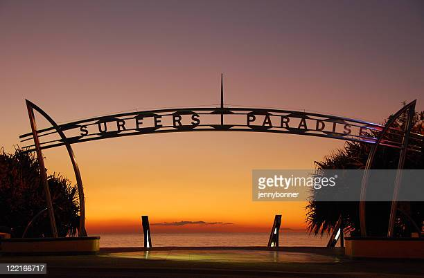 image of surfers paradise, queensland, australia at sunrise - gold coast stock pictures, royalty-free photos & images