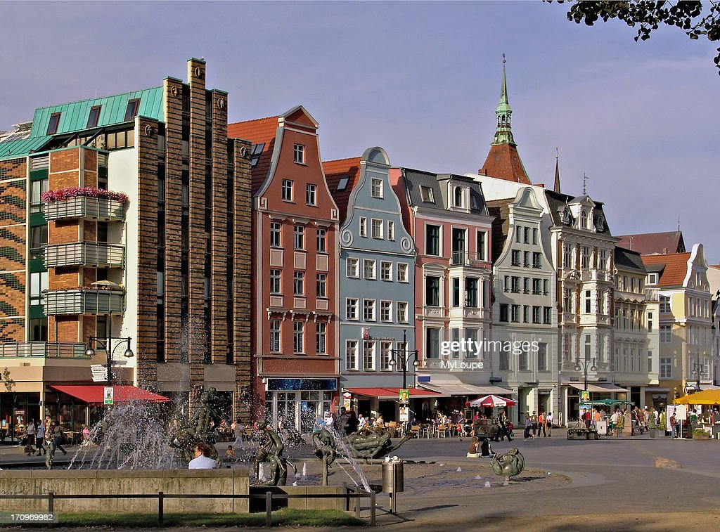 Image of the historical old quarter of Rostock, in East Germany.