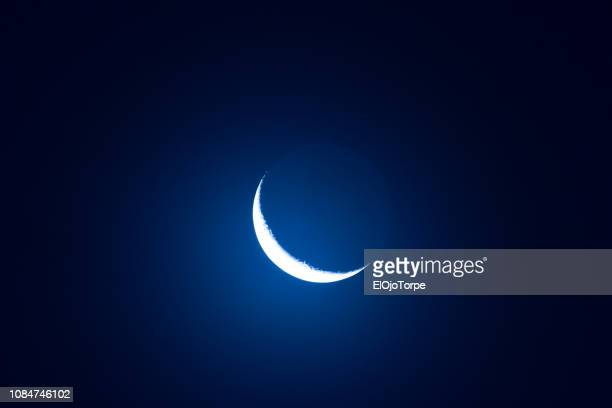 image of the moon over montevideo, uruguay - romanticismo concetto foto e immagini stock