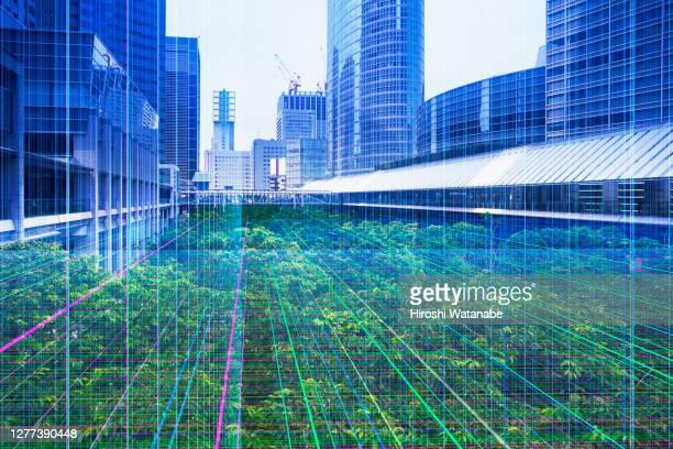 image of the network between modern building - cuestiones ambientales fotografías e imágenes de stock