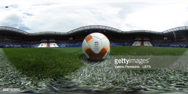 A 360 image of the Official adidas ball ahead the UEFA Europa League Final between Olympique de Marseille and Club Atletico de Madrid at Stade de...