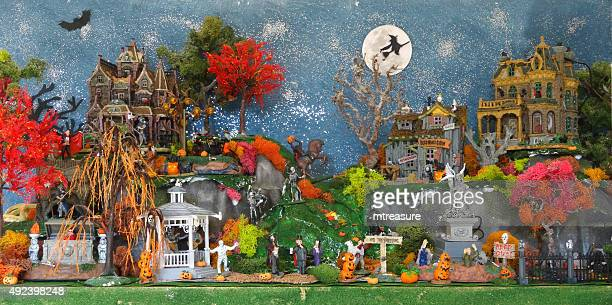 Image of toy model Lemax Halloween village 'Spooky Town' diorama
