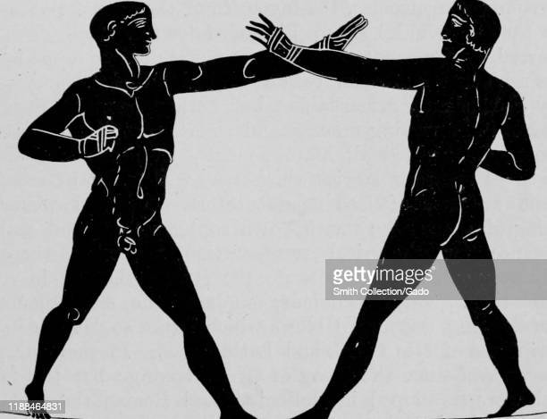 Image of two nude men boxing taken from the book Greek Athletic Sports and Festivals by author E Norman Gardiner published by Macmillan and Co 1910...