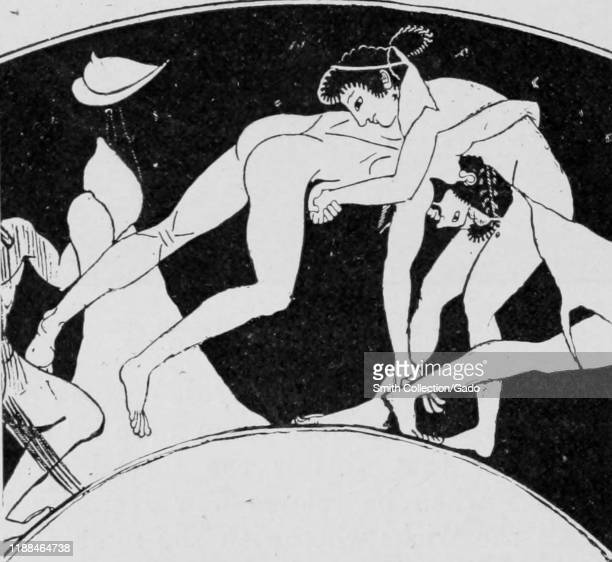 Image of two nude men wrestling taken from the book Greek Athletic Sports and Festivals by author E Norman Gardiner published by Macmillan and Co...