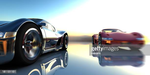 image of two super cars racing - muscle car stock photos and pictures