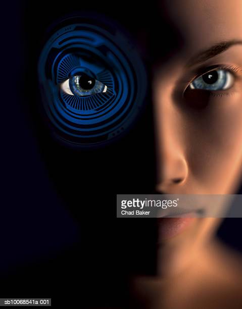 3D image of woman with superimposed rings on eye, close up, portrait, digitally generated