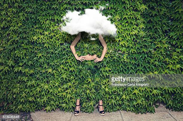 image of young woman on ivy plants and cloud - disguise stock pictures, royalty-free photos & images