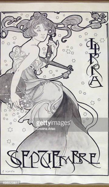 Image of zodiac sign Libra for the month of Sepetiembre by the modernist illustrator Eulogio Varela in the early twentieth century ABC Museum Of...
