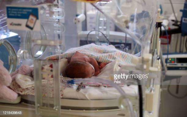 Image released on May 27 A newborn baby in the maternity ward at Frimley Park Hospital in Surrey on May 22 2020 in Frimley United Kingdom The...