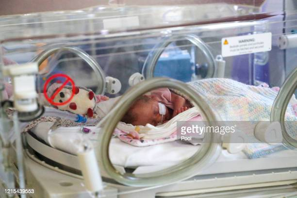Image released on May 27, A newborn baby in the maternity ward at Frimley Park Hospital in Surrey on May 22, 2020 in Frimley, United Kingdom. The...