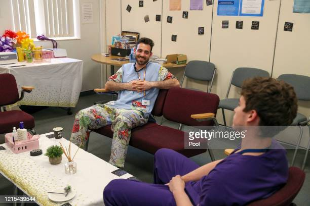Image released on May 27 Doctors have some downtime in a wellbeing room at Frimley Park Hospital in Surrey on May 22 2020 in Frimley United Kingdom...
