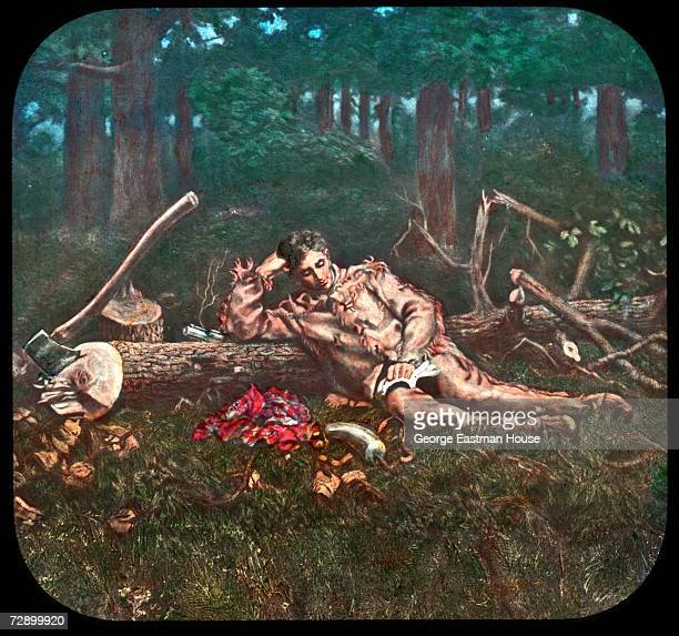 Image shows American President Abraham Lincoln as a young man as he reads a book and leans against a felled tree early 1800s The image was published...