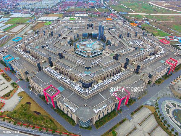 Image shows an aerial view of Shanghai Pentagonal Mart in Huinan Town of Pudong District on January 20 2016 in Shanghai China A Pentagonal mart in...