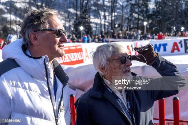 image shows Franz Klammer of Austria and Bernie Ecclestone of United Kingdom during the Audi FIS Alpine Ski World Cup Men's Super G on January 24...