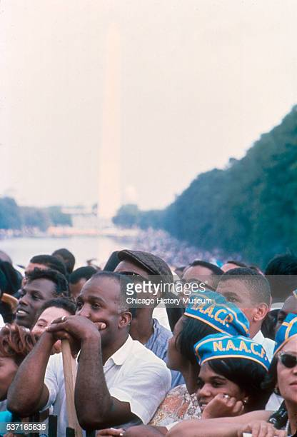 Image shows members of the National Association for the Advancement of Colored People in a crowd at the March on Washington for Jobs and Freedom in...