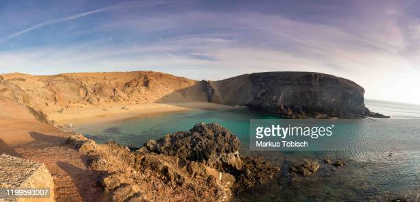 Image shows playa de Papagayo during at Lanzarote on January 27, 2020 in Arrecife, Spain.