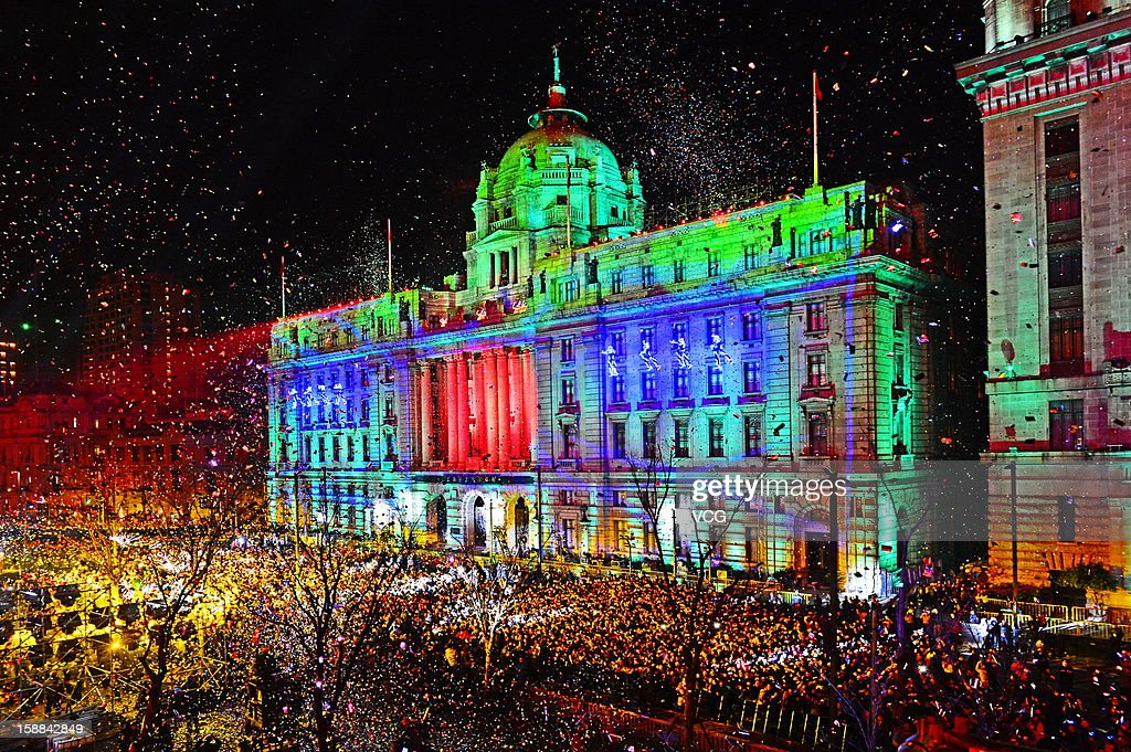 Image shows the 4D light shown on a building at the Bund to greet the New Year on December 31, 2012 in Shanghai, China.