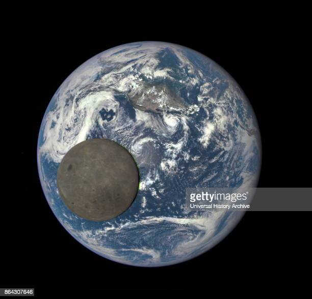 2016 image shows the far side of the moon illuminated by the sun as it crosses between the DSCOVR spacecraft's Earth Polychromatic Imaging Camera...