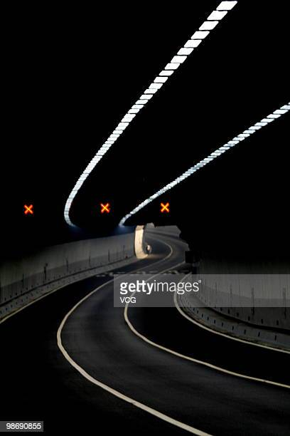 Image shows the inner of Xiang'an crossHarbour tunnel on April 26 2010 in Xiamen China The tunnel length 59km which waters paragraph 42km 6 drive...